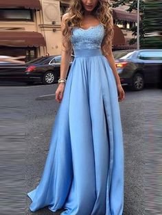Elegant Blue A Line Appliques Prom Dress for