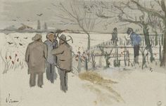 """ Vincent Van Gogh 1853- 1890 Miners in the snow Year ( Winter 1882 ). """