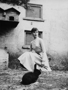 Audrey Hepburn photographed with bunnies at La Vigna in Rome during the production of War and Peace, 1955. || Happy Easter and Passover