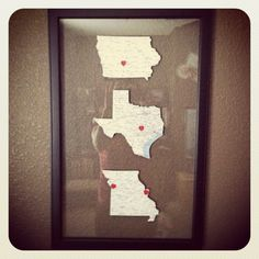 Love my newest project.... link to pdf files for the state maps, print & cut, add heart stickers and place in floating frame!  (I chose to place hearts on where we live, where we're from and where more of our family lives.)  I found this frame at Hobby Lobby for 50% off!  It's a frame designed for three 5x7 photos.  Easy peasy and cheap!