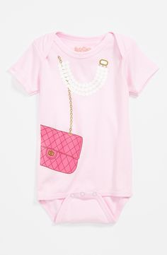 Such an adorable little pink print onesie.