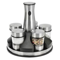 SALT & PEPPER MILLS $59.99;  Kalorik presents an easy and elegant way to serve freshly ground salt, pepper and 3 other fresh spices. Our stainless Rechargeable Mill sit in a sleek rotating power base to ensure mill is always fully charged and ready to grind.