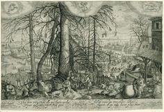 Johan Barra | Winterlandschap met winterse activiteiten, Johan Barra, 1600 - 1634 | In een winterlandschap bij een groep bomen warmen vrouwen zich bij een vuur, sprokkelt een vrouw hout, spelen mannen een balspel en put een man water. Op de achtergrond schaatsen mensen en rijden in sleeën op het ijs. Bovenaan zijn de tekens van de zodiac weergegeven: Steenbok, Waterman en Vissen. Onder de voorstelling staat een Latijns opschrift over de winter.