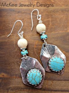 Blue stone turquoise with white stone and sterling silver earrings.
