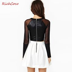2016 T Shirt Women Crop Tops Summer Style Richcoco Europe And Handsome Mosaic Mesh Back Zipper Chest Wrapped Round Neck Short-sl
