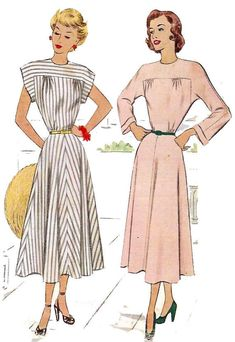 Items similar to Back Button Yoke Dress Pattern - Bust Round Neckline, Full Skirt, Sleeve in one with Yoke - Vintage Sewing Pattern - McCall 7260 on Etsy Vintage Dress Patterns, Clothing Patterns, 1940s Fashion, Look Fashion, Sophisticated Dress, Elegant, Vintage Outfits, Patron Vintage, Retro Pattern