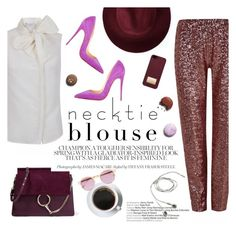 """""""Fall Trend: Necktie Blouse"""" by the-2nd-skin-co on Polyvore featuring Redopin, Christian Louboutin, Michael Kors, Chloé and Sheriff&Cherry"""