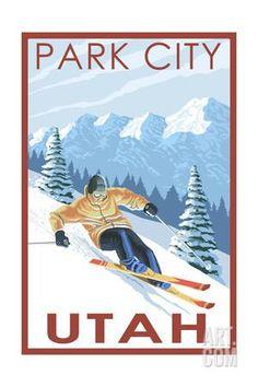 Park City, Utah - Downhill Skier Art Print by Lantern Press at Art.com