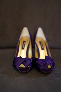 Silk purple peep-toe heels for the bride to match her wedding colors! {Turnquist Photography}