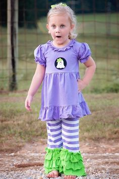 Girls Knit Ghost Applique Top & Ruffle Pants Set Ruffle Pants, Ruffle Blouse, Baby Girl Halloween, Applique, Girl Outfits, Babies, Knitting, Girls, Clothes