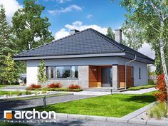 Dom w lilakach 2 (W) Story House, House 2, Modern Bungalow, Small House Design, Simple House, Exterior Colors, Home Theater, House Plans, Architecture