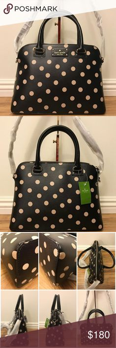 ♠️🆕Kate Spade♠️NY♠️Wellesley♠️Printed♠️Rachelle♠️ ♠️ ♠️  ♠️👜Looking for Christmas Gift👜?♠️  👍🏼Perfect for Spring🌺🌸Summer, Fall or Winter!❄️  👜Super Nice and Elegant!👜  👜Band New w Tag 👜100% Real Authentic  👜KS Logo Plate in Front  👜Interior 2 open & 1 Zip Pocket  👜Black and Beige Polka Dot Printed Coated Canvas 👜Adjustable & Removable Long Strap 20'drop  👜Handles 5' drop 👜Paper Bag Included👜  👜No Trade, No Modeling  👜Smoke-Free Home  👜Don't let this purse pass you by…