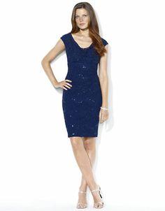 LAUREN RALPH LAUREN Sequined Lace V Neck Dress – BLUE http://1tagdeals.com/fashion/shop/lauren-ralph-lauren-sequined-lace-v-neck-dress-blue-4/