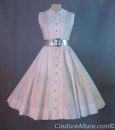 1950s Jonathan Logan White Cotton Dress