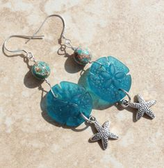 Earrings Sterling Silver Dangle Teal Sea Glass Sand by InaraJewels