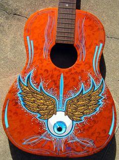 by Todd Jones Guitar Painting, Guitar Art, Car Painting, Guitar Pins, Acoustic Guitar, Pinstriping, Painted Signs, Hand Painted, Pinstripe Art