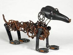 recycled bicycle as yard art | Recycled Bicycle Chain Dogs♥♥♥