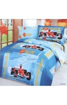 Le Vele F1 Blue - Duvet Cover Bed in Bag - Twin Kids Bedding Juvenile Set - LE42T by Le Vele. $110.00. F1 Racing is featured on this colorful junior duvet cover set, predominantly in shades of blue that will please any boy's room.. Twin Package Content and Sizes in Inches:- 1 Bed Sheet: 71 x 96. - 1 Pillow Case: 20 x 30. - 1 Duvet Cover: 63 x 87. - 1 Pillow Sham Flanged: 20 x 30 + 2inch flange. 4 Pieces Juvenile Duvet Cover Set with Reversible Design.  Fits Twi...