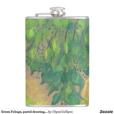 Green Foliage, pastel drawing, life sketch, nature Flask