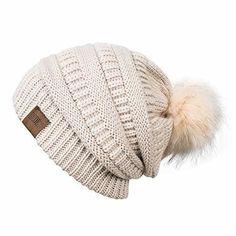 269953ea91e Women winter  pom  beanie  hat  with  warm  fleece  lined