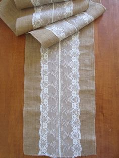 Gems Wedding Supplies - Burlap Hessian Lace Centre Wedding Table Runners for Vintage or Country Wedding, $19.95 (http://www.gemsweddingsupplies.com.au/burlap-hessian-lace-centre-wedding-table-runners-for-vintage-or-country-wedding/)