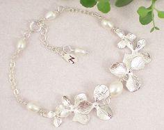 Freshwater Pearl Bracelet, Personalize initial, Bridesmaid Wedding Bracelet, Freshwater Pearls, Orchids, Sterling Silver Bracelete