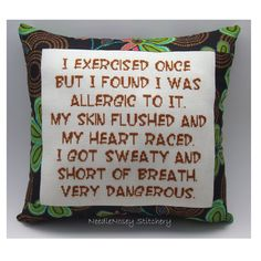 Funny Cross Stitch Pillow, Cross Stitch Quote, Brown and Green Pillow, Exercise Quote