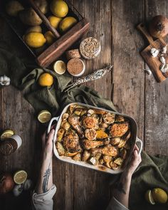 Lemon Potato Chicken by Eva Kosmas Flores This easy one pan roast lemon potato chicken is full of delicious Mediterranean flavors like oregano, olive oil, thyme, lemon, and roast garlic and onion. Greek Lemon Potatoes, Meat Recipes, Cake Recipes, Savoury Recipes, My Favorite Food, Favorite Recipes, Easy Family Meals, Family Recipes, Healty Dinner