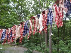 Rustic Americana Rag Garland, Rustic Wedding Bunting, 4th of July Reunion, Barn Dance Decoration, Patriotic Party Banner by TattersandScraps on Etsy