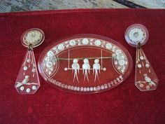 Antique Brooch Earring Set Reverse Intaglio by primitivepincushion, $65.00