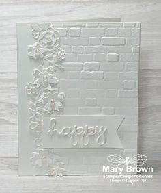 Nights in White Satin | StamperCamper's Corner All White, White Ink, Nights In White Satin, Embossing Folder, Paper Design, Special Day, Wedding Cards, Stampin Up, Paper Crafts