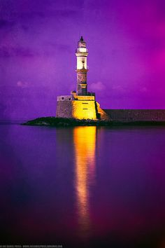 Textured Lighthouse at Chania, Crete, Greece