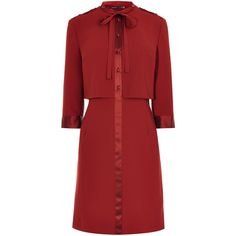 KAREN MILLEN Military Shirt Dress ❤ liked on Polyvore featuring dresses, ribbon dress, red dress, tailored dresses, karen millen dresses and wetlook dress
