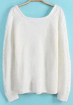 V Neck Loose Knit White Sweater 18.33