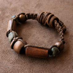 Antique African Macrame Bracelet, Ancient Granite, Antique Copper, Elk Antler, Solid Bronze Gray Black and Brown