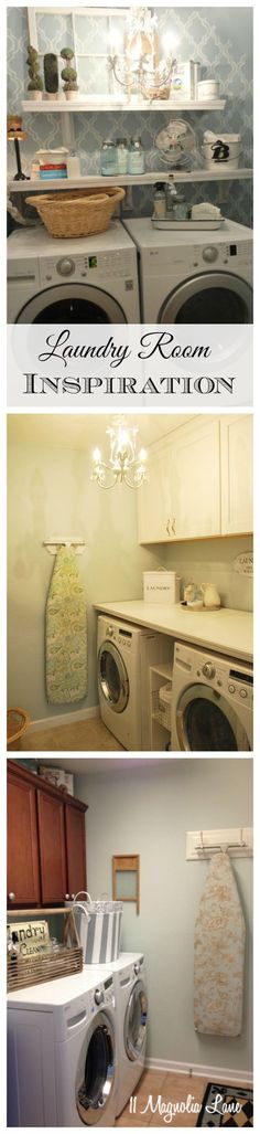 Three different laundry rooms decorated in a variety of fun styles.