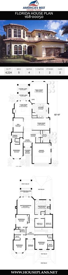 A 2-story Florida home, Plan 168-00050 is designed with 4,224 sq. ft., 5 bedrooms, 4.5 bathrooms, a lanai, open floor plan, and a study. Florida House Plans, Florida Home, Jack And Jill Bathroom, Best House Plans, Modern Architecture House, Open Floor, Most Beautiful Pictures, Interior And Exterior, Models