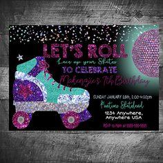 Roller Skate Invitation Skating Party Neon Skate Disco