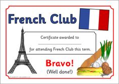Printable certificates to present to members of your French club termly, half-termly, monthly or yearly. Scientific Method Quiz, French Club Ideas, French Days, French Stuff, French Practice, Free Teaching Resources, Teaching Ideas, Primary School Teacher, French Resources