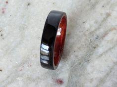 Items similar to Ebony wood ring with Bubinga liner Bentwood ring on Etsy