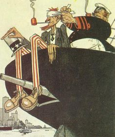 Diary for Monday, May 31, 1915:   Image German cartoon about a 'blind' American passenger on an 'unarmed' ship.  Politics  USA: Government dissatisfied with German Lusitania reply. British Ambassador says Lusitania never carried guns (untrue). Germany: Baron Wangenheim cables Berlin on need to 'mitigate' not hinder measures against Armenians.  Western Front  Despite Allied attacks, Germans send 2 divisions during May to Eastern Front. BEF May loss of 65,730 soldiers worst until July 1916…
