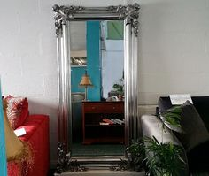 Rococo Style Silver Gilt Framed Full Length Mirror RRP Was £599 - NOW ONLY £239 - GRAB THIS ONE OFF BARGAIN from  The Interior Outlet - Clearance Furniture Warehouse  Priory Business Park  Fitzwilliam  Pontefract WF9 5BZ  West Yorkshire.