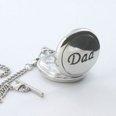 A silver plated pocket watch for dad presented in a personalised gift box makes the perfect gift idea for Father's Day.