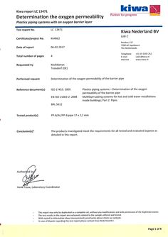 KIWA testet Sauerstoffdichtigkeit   Das MB-Euro-Systemrohr 17 hat den aktuellen Test durch die niederländische Kiwa nach ISO 17455:2005, EN ISO 21003-2:2008 und BRL 5612 erwartungsgemäß bestanden und ist fast dreimal dichter als von den Normen gefordert.
