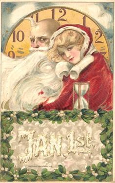 Vintage New Year postcard of beautiful woman and Father Time illustrated by Samuel Schmucker, ca. Old Christmas, Christmas And New Year, Vintage Christmas, Xmas, Christmas Ideas, Vintage Greeting Cards, Vintage Postcards, Vintage Ephemera, Vintage Images