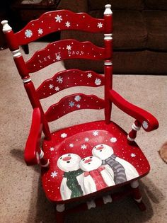 Hand painted Christmas chair~~oh what fun! Christmas Chair, Noel Christmas, All Things Christmas, Christmas Ornaments, Snowman Crafts, Christmas Projects, Holiday Crafts, Holiday Decor, Holiday Themes