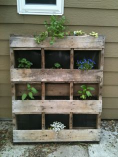 A creative way to reuse a pallet and turn it into a garden. Easy and effective! - Gardening For Today Vertical Herb Gardens, Vertical Pallet Garden, Pallets Garden, Pallet Gardening, Outdoor Gardens, Gardening Tips, Wood Pallets, Backyard Projects, Outdoor Projects