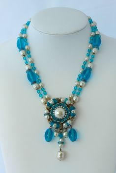 Miriam Haskell Vintage Turquoise Glass and Baroque Pearl Pendant Necklace