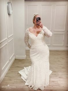 Events - Studio Levana - Couture Wedding Gowns wedding dresses wedding dresses for curvy brides plus size curvy women full figured body types women brides b Plus Size Wedding Dresses With Sleeves, Plus Size Wedding Gowns, Fit And Flare Wedding Dress, Lace Dress With Sleeves, Fall Wedding Dresses, The Dress, Dress Lace, Dress Tops, Fancy Dress