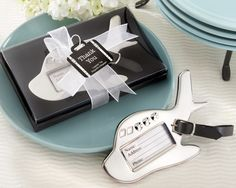 Destination Love Chrome Luggage Tag Wedding Favors (Kate Aspen 13006NA) | Buy at Wedding Favors Unlimited (http://www.weddingfavorsunlimited.com/destination_love_chrome_luggage_tag.html).  - ideas for wedding favours